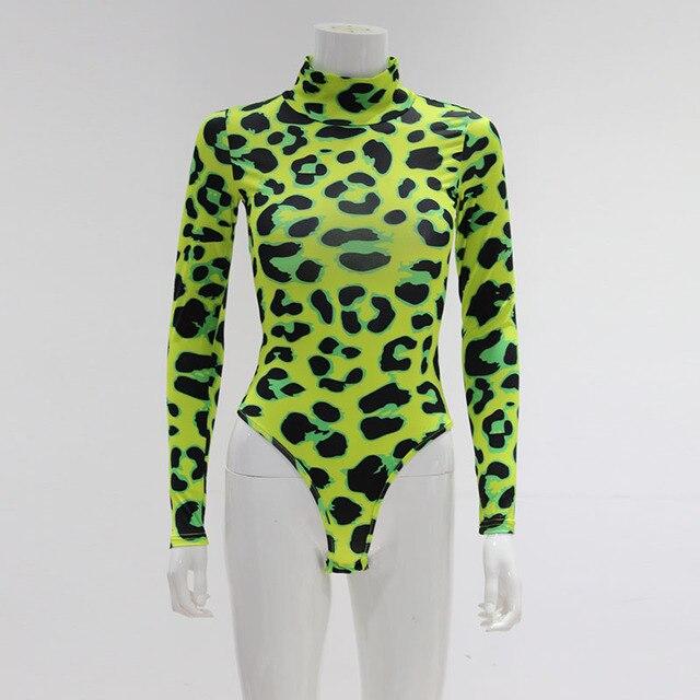 CNYISHE Women Long Sleeve Leopard Skin Prinetd Bodysuit Sexy Neon Green Streetwear Jumpsuit Skinny Leopard Tops Fashion Rompers 6