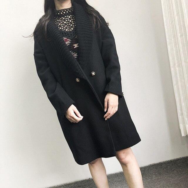 أزياء الشارع الشهير طويلة أزياء الشتاء معطف صوف مزدوجة الصدر الصوف مزيج معطف و سترة بدوره إلى أسفل طوق معطف Femenino