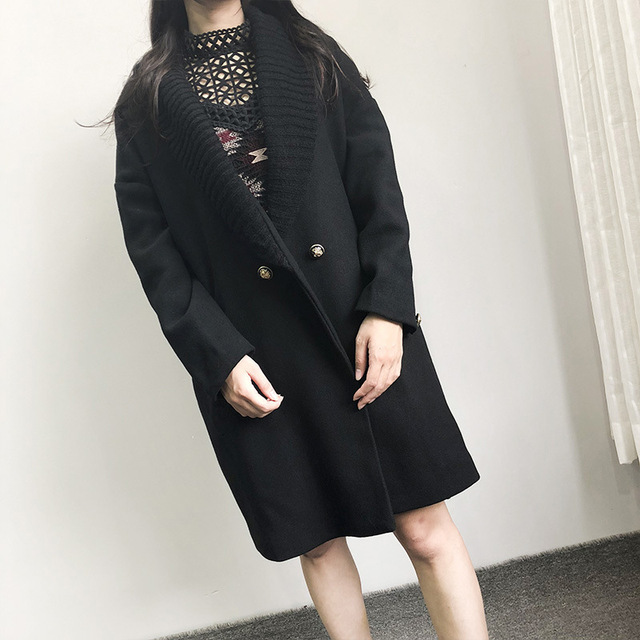 Abrigo largo de lana de invierno a la moda para mujer, abrigo de mezcla de lana con doble botonadura y chaqueta con cuello vuelto