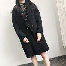 Moda Streetwear Lungo di Modo di Inverno Cappotti di Lana Doppio Petto Misto Lana Cappotto E Giacca Gira giù il Collare Del Cappotto Femenino