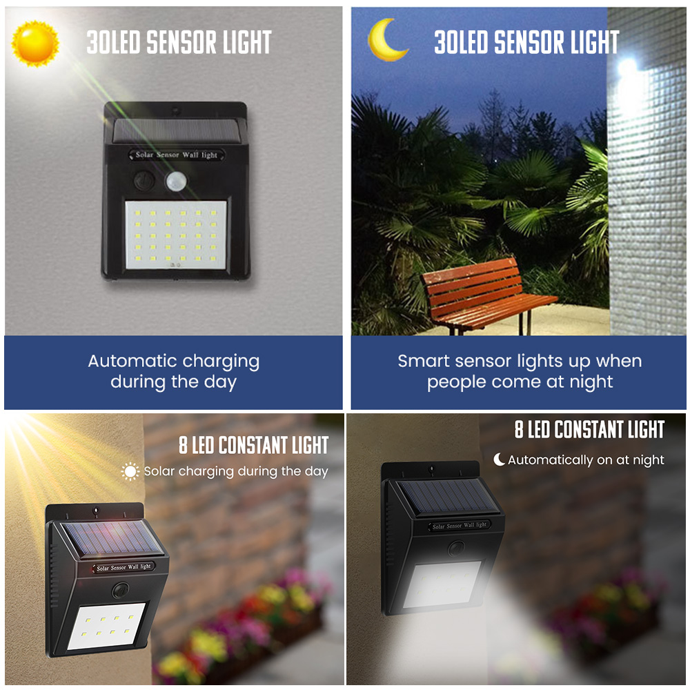 SUNYIMA Waterproof and Wall Mounted Outdoor Solar Lamp with 30 LED with PIR Motion Sensor 3