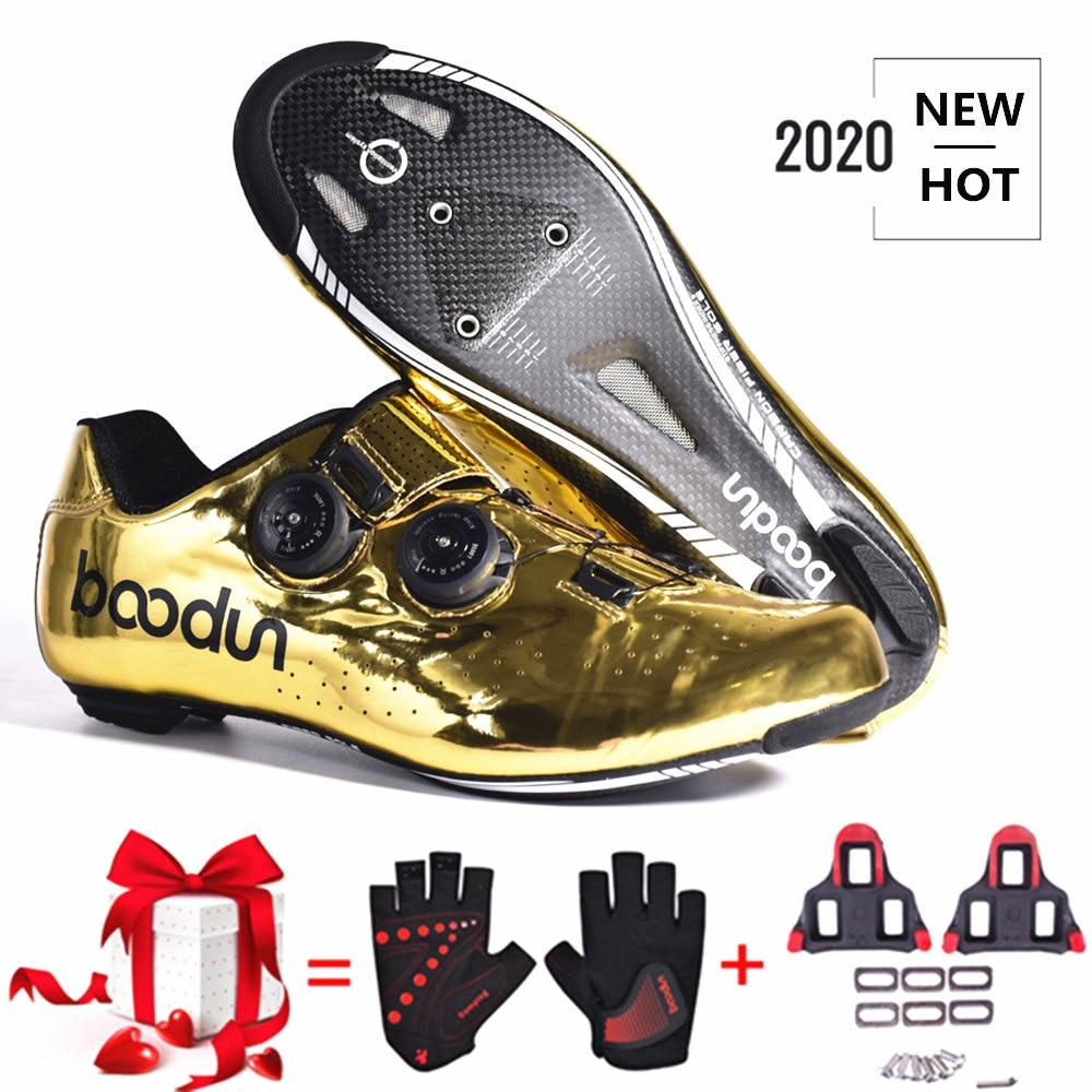 Sapatos de Bicicleta de Estrada Sapatos de Fibra de Carbono Sapatos de Corrida Novo Tirano Ouro Estrada Ciclismo Auto-bloqueio Ultraleve Profissional 2020