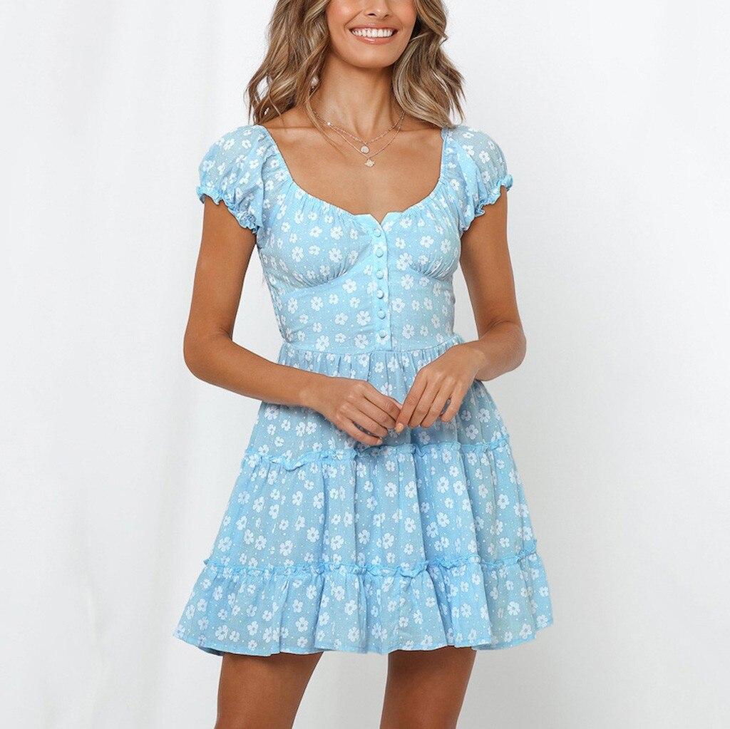 EG/_ Women/'s Summer Boho Ruffled Solid Cocktail Party Beach Loose Mini Dress Good