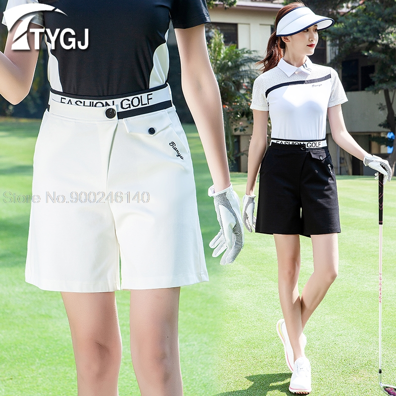 Summer Women's Golf Shorts Slim Fit Sports Clothes High Waist Casual Golf Shorts Pants Sports Girl Tennis Badminton Trousers