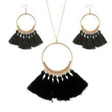 Vintage Bohemian Tassel Earrings Sets Big Circle Pendant Necklaces Drop Fashion Jewelry For Women