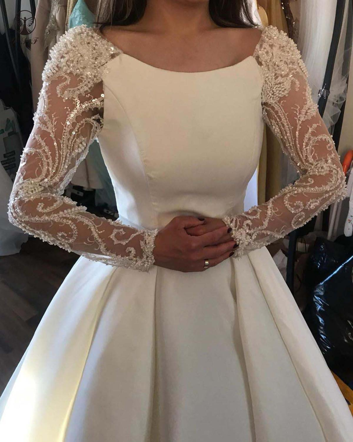 2020 Simple But Elegant Scoop Beaded Stones Long Sleeve Keyhole Back Pleated Wedding Dresses