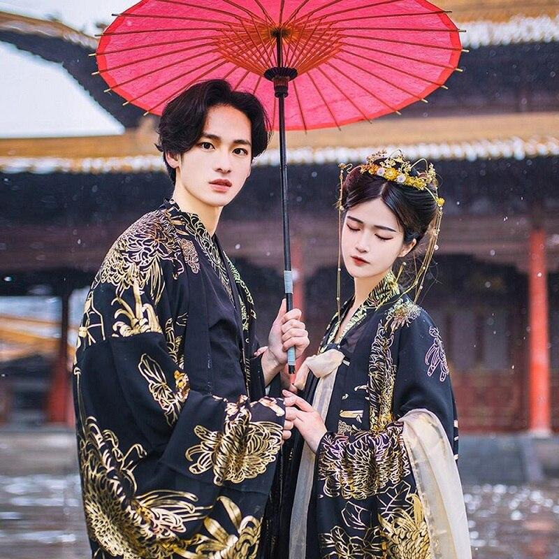 Oriental antigua ropa parejas negro Hanfu de estilo chino tradicional vestido de las mujeres de los hombres Halloween Disfraces Cosplay