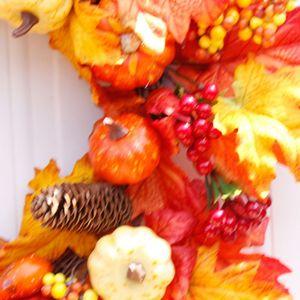 Image 2 - Pompoen Maple Leaf Krans Kunstmatige Bloemenkrans Herfst Oogst Thanksgiving Halloween Decoratie