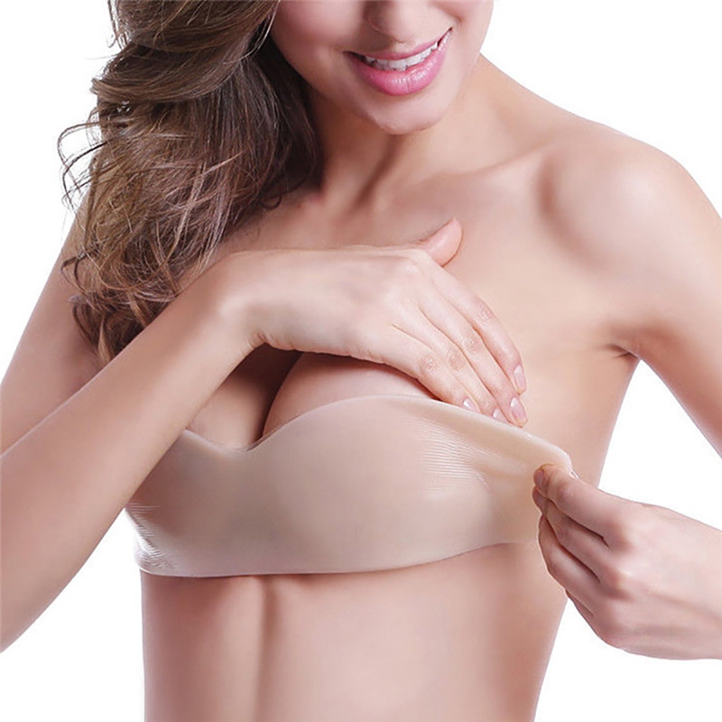 Placket Women Non-trace Placket  Silicone Push Up Bra Women's Invisible Bras Self Adhesive Strapless Bandage Blackless Solid Bra