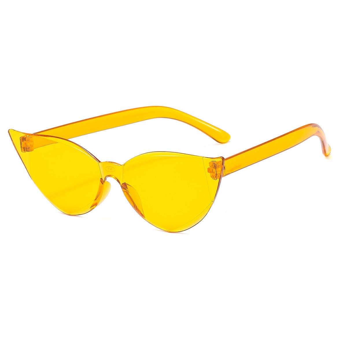 FOENIXSONG UV400 Pink Sunglasses For Women Rimless Eyewear Cat Eye Men Brand New Designer Female Sun Glasses Oculos De Sol