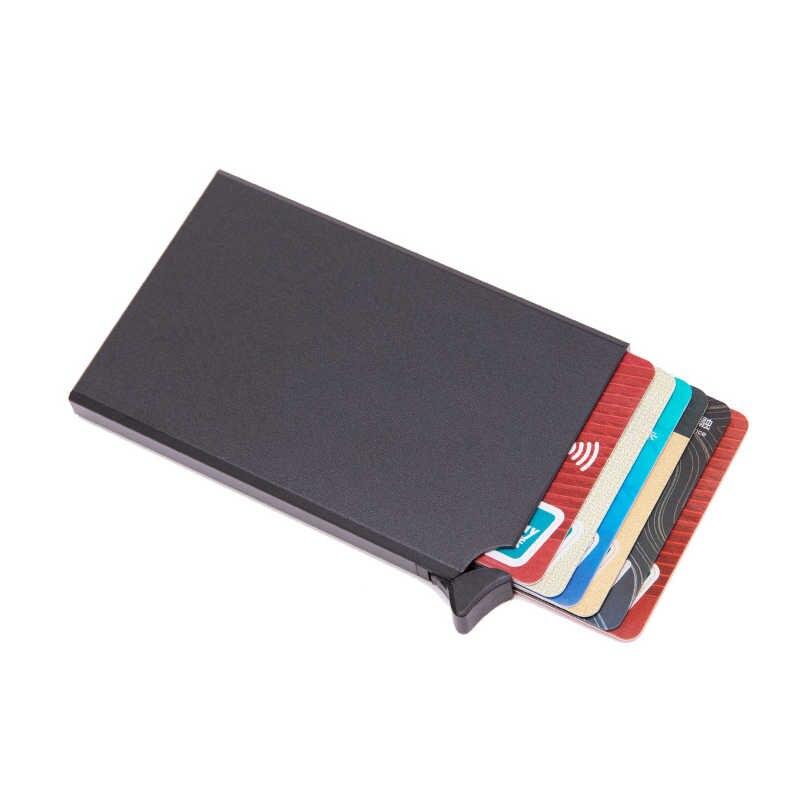 BISI GORO RFID antirrobo titular de la tarjeta de crédito Delgado caso de la tarjeta de identificación Unisex automáticamente sólido Metal Banco tarjeta billetera negocios Mini