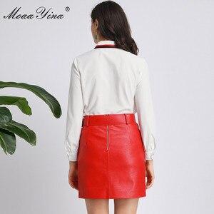 Image 5 - MoaaYina Fashion designerski strój wiosna jesień kobiety z długim rękawem koszula haftowana topy + PU krótka spódnica elegancki dwuczęściowy zestaw