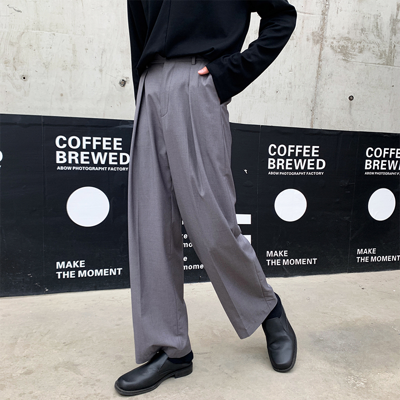 Autumn New Dress Pants Men's Fashion Solid Color Business Casual Trousers Man Streetwear Wild Loose Straight Suit Pants M-XL