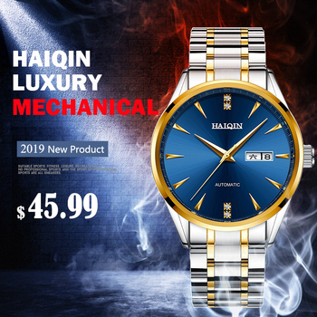 HAIQIN Men's Watches Top Brand Luxury Business Steel Watch Men Automatic Mechanical Male Wristwatch Waterproof relogio masculino