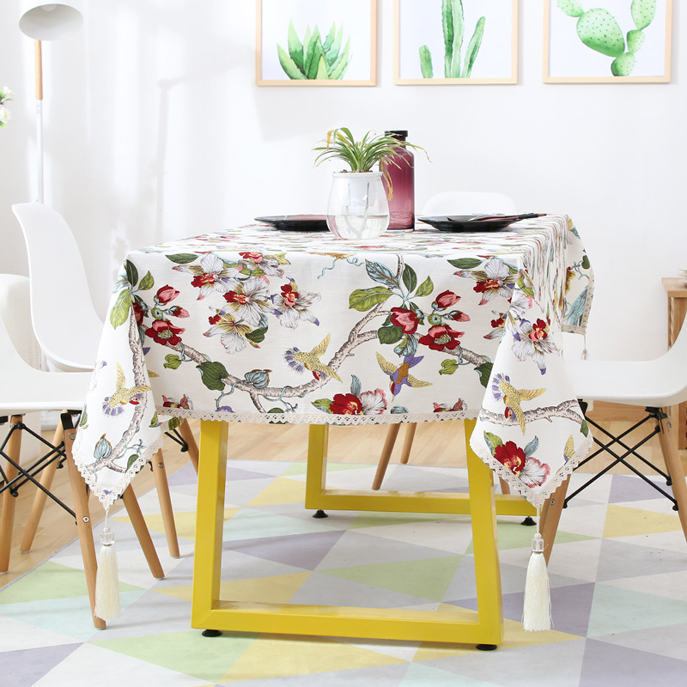 Classical Wedding Decoration Tablecloth Cover Fresh Fabric Flower Home Garden Living Room Household Coffee Table Cover Cloth
