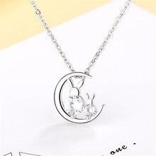 Korean Fashion 925 Sterling Sliver Moon Rabbit Crystal Choker Necklace Women Fashion Statement Necklaces 2019 Birthday Gift P219 недорого