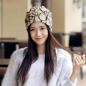 Letter Flag Print Multipurpose Baggy Beanie Hat Chemo Cap Women Head Scarf Cover Multiuse head scarf for women with letter/flag