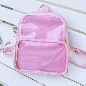 Image 4 - Yaz moda kadınlar sırt çantası şeffaf öğrenci çantaları yüksek kaliteli şeffaf çok yönlü sırt çantaları kadın deri çanta bayan seyahat çantası