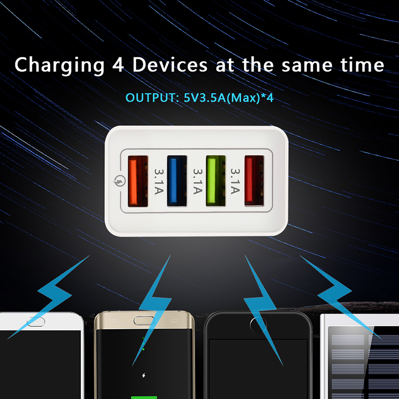 Image 4 - CinkeyPro 4 Ports USB Charger for Samsung iPhone Huawei Wall Mobile Phone 5V/3.5A Universal Adapter Fast Charging-in Mobile Phone Chargers from Cellphones & Telecommunications
