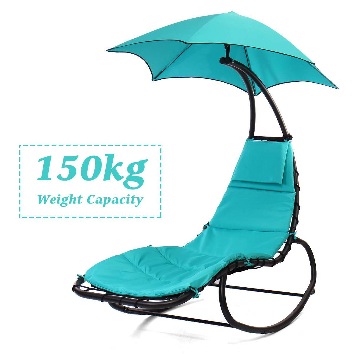 330lbs 150KG Load Hammock Chair Arc Stand Hanging Chaise Lounger Swing Chair Chaise Lounge Sun Loungers 66.9X35.4X72 Inch