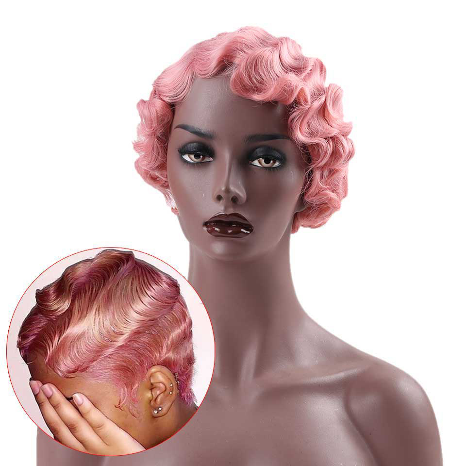 MEIFAN Female Short Curly Retro Wigs Synthetic Hair Finger Wave Wig Cosplay Pink Red Curly Cute Wigs For Black Women
