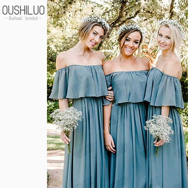 Wholesale Chiffon   Bridesmaid     Dresses   Off The Shoulder Strapless Ruffles Sweep Train A Line Lawn Wedding Party Guest   Dress