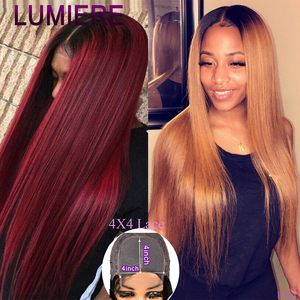 Brazilian Straight Blonde Wig For Black Women Ombre Lace Front Human Hair Wig PrePlucked 4x4 Lace Closure Wig 1B/27/99j Glueless(China)