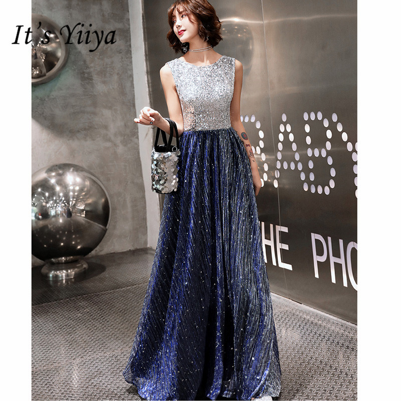 It's Yiiya   Evening     Dress   Elegant O-Neck A-Line Robe De Soiree Shining Sequin Sleeveless Floor-Length Women Party   Dresses   E889