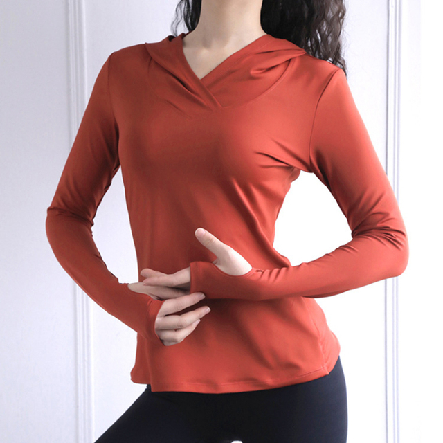 Women Back Forked Yoga Shirt Long Sleeve Thumb Hole Running T-shirt Mesh Breathable Sport Hoodies Fitness Top Gym Workout Blouse 3