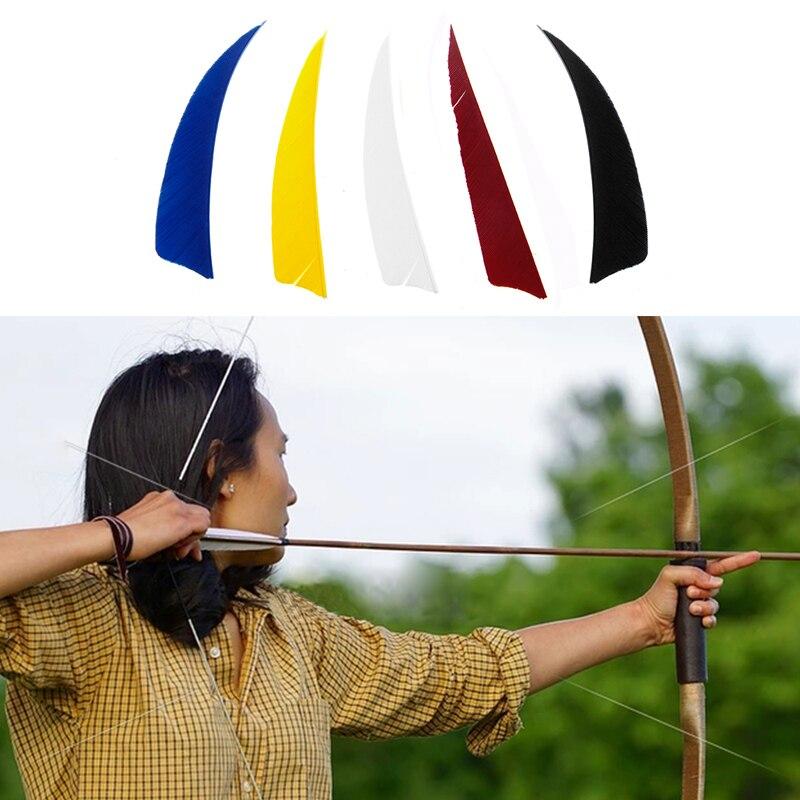 50Pcs 4 inch Shield Shape Turkey Feather Arrow Archery Hunting Fletching for DIY T8NC