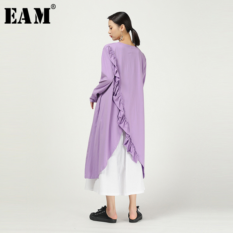 [EAM] Women Purple Asymmetrical Ruffles Split Long T-shirt New Round Neck Long Sleeve  Fashion Tide  Spring Autumn 2020 1N472