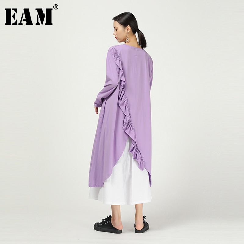 [EAM] Women Purple Asymmetrical Ruffles Split Long T-shirt New Round Neck Long Sleeve  Fashion Tide  Spring Autumn 2020 1N472