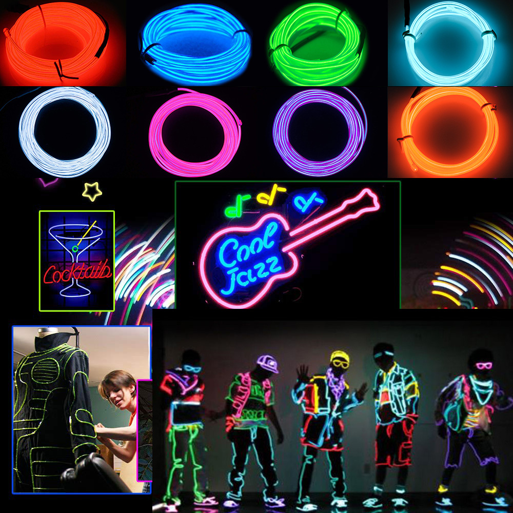 New Neon Lights Neon Dance Lights for Parties Halloween EL Light Wire 10 Colors Portable Neon Lights AABattery Christmas Party