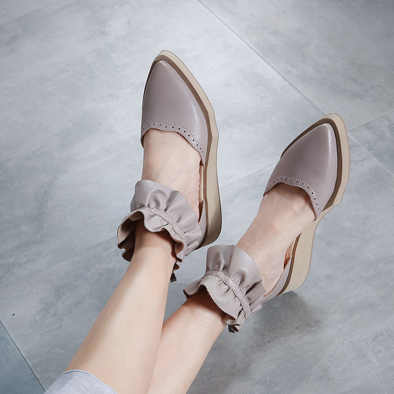 Original Closed Toe Women Sandals Shoes Summer New Genuine Leather Wedges Soft Soles Sandals Pointed Toe Dress Sandals Fashion