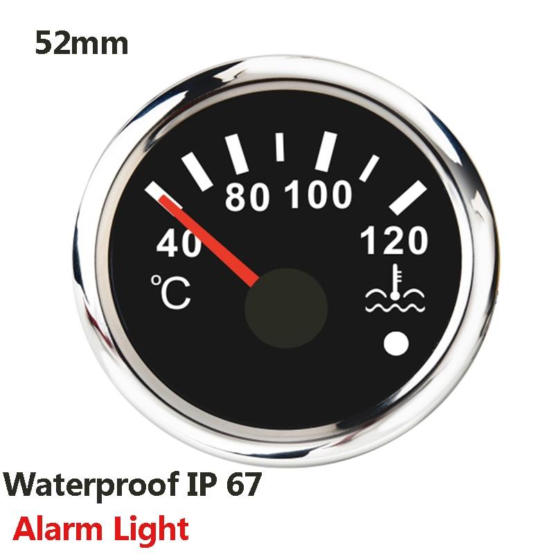 Jauge de température de leau 40-120 ℃ étanche avec rétro-éclairé rouge, pour voiture, pour moto, bateau