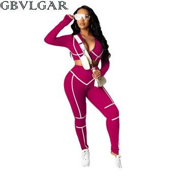 GBVLGAR Autumn Stripe Patchwork Women Tracksuit Two Piece Set Long Sleeve Zipper Sweatshirts Crop Top Pencil Pants Jogging Suits