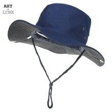 Chapéu de pesca ao ar livre anti-uv chapéus de pesca de borda larga homens sombra de cor sólida homem