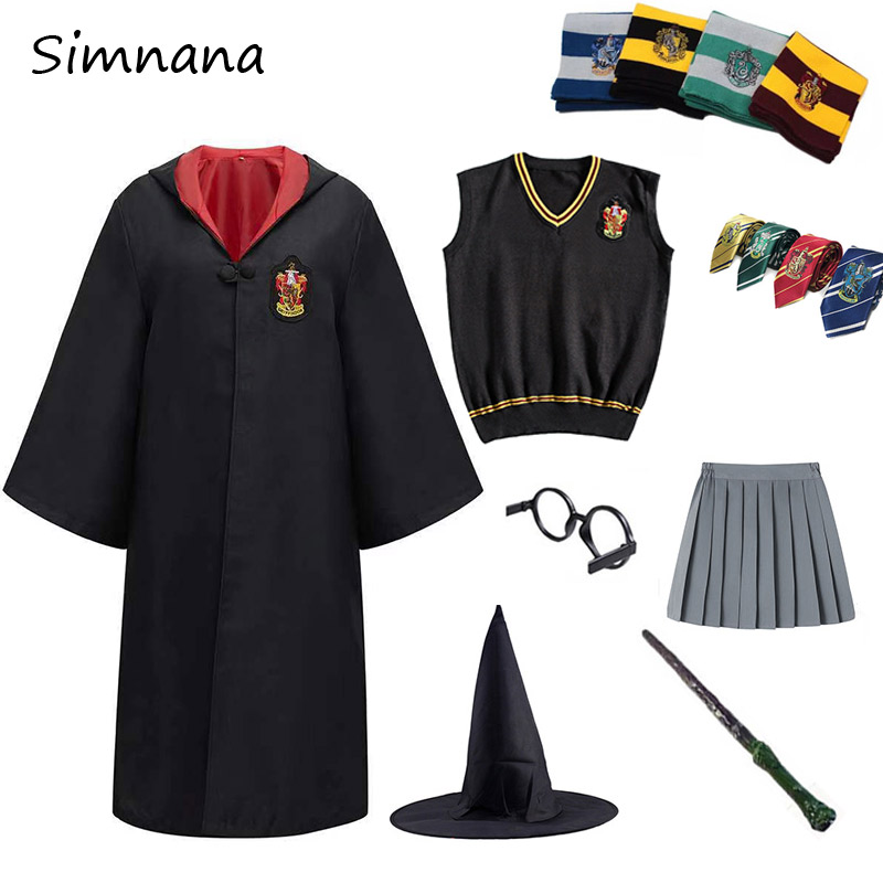 Potter Outfits Cosplay Costumes Robe Cape Cloak Sweater With Tie Scarf Wand Glasses Hermione Skirt Halloween Christmas Gifts Kid