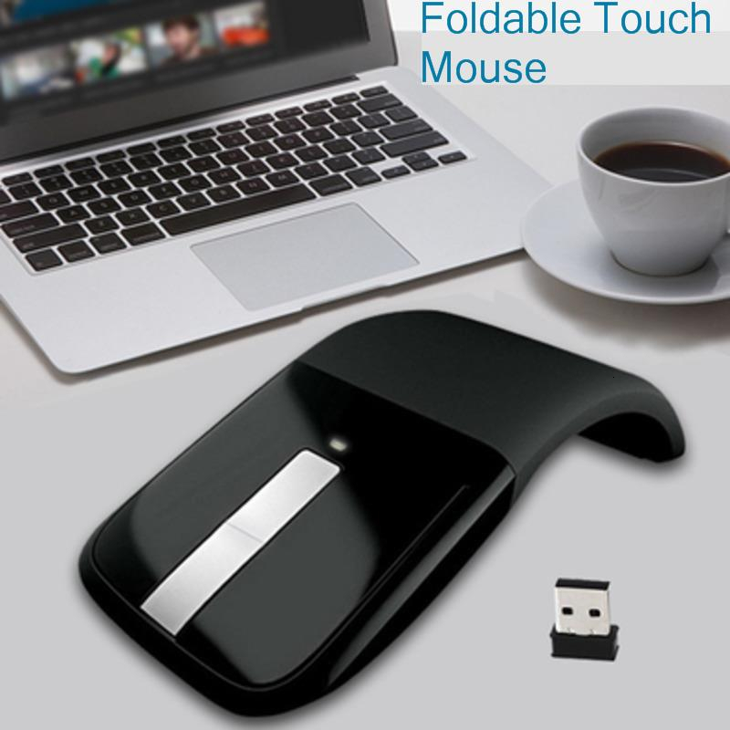 Wireless Foldable Arc Touch Ergonomic Computer Mouse For Microsoft Laptop Usb Optical Office PC Mice 3d Folding Mice For Macbook