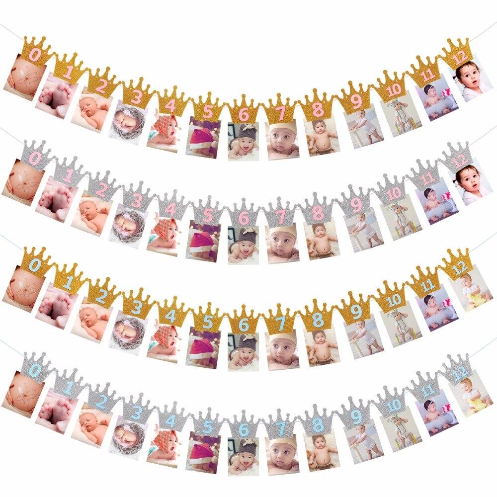 FENGRISE 12 месяцы фоторамка баннер для маленьких девочек для первого дня рождения украшения для детей домашний декор 1 год для первого дня рожде...