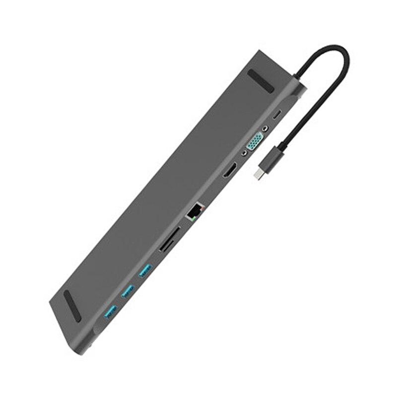 10 En 1 Hub tipo C con USB para ordenador portátil, adaptador, estación de acoplamiento HDMI VGA RJ45 PD Compatible para HP/ Lenovo/superficie gris NEMA 6-20R LK5620R toma de acoplamiento de aire 20A conector Industrial asiento generador