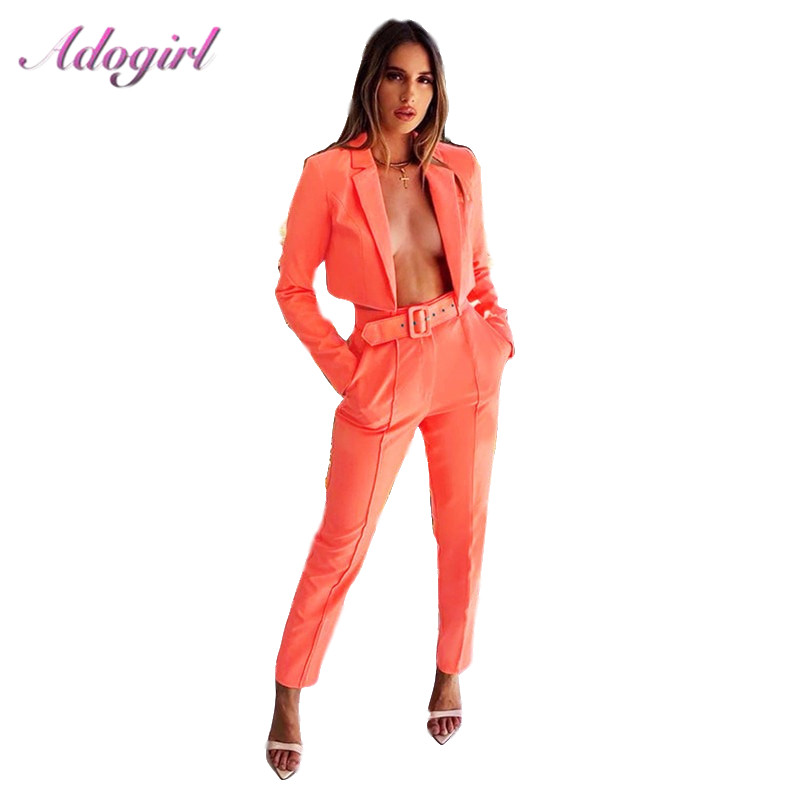Adogirl Women Office Lady Blazer Two Piece Set Autumn Elegant Neon Color Short Formal Blazer Jacket + Pencil Pant Suit With Belt