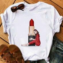 Red Lipstick T Shirt Women Perfumer Floral T-Shirts Girl Sum