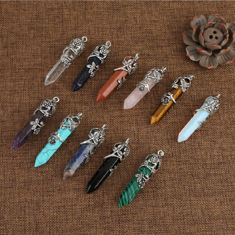 Pingente de ponto cristal natural de quartzo rosa, joia de cristal mineral de quartzo, reparo mágico, colar para casal, presente de jóias, 1 peça
