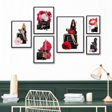 Fashion Girl Paris Perfume Lipstick Flower Wall Art Canvas Painting Nordic Posters And Prints Picture For Living Room Decor