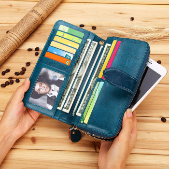 Women Genuine Leather Wallet High Quality Female Clutch Purse Women's Money Bag Zipper Handy Clutch Wallet for Card Holder bentoy embroidery candy women clutch wallet hologram zipper leather wallet female metallic purse large organize bank card holder