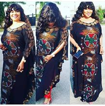 loose New African women's clothing Dashiki Chiffon material Color full drill Long dress with orange underlining two piece set
