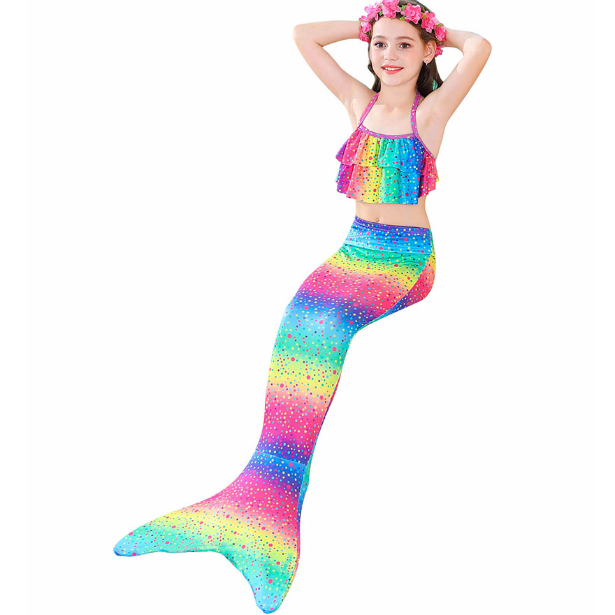 H908af9c556cf41299e39dd14cea2bb314 - Kids Swimmable Mermaid Tail for Girls Swimming Bating Suit Mermaid Costume Swimsuit can add Monofin Fin Goggle with Garland