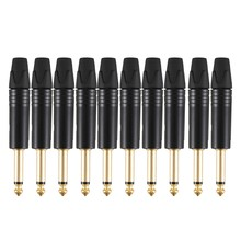 Gold Plating 10Pcs Plug Mono Professional 2 Pole 6.35 Mm 6.5Mm Stereo Jack Plug Neutrik 6.35Mm Jack Black(China)