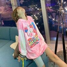 2019 Autumn sequins patchwork long sleeve loose sweatshirts fashion cartoon print women cec